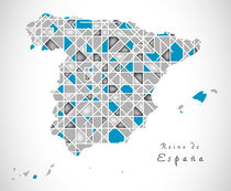 Spain Map crystal style artwork by Ingo Menhard