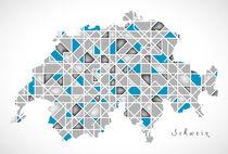 Schweiz Map crystal style artwork by Ingo Menhard