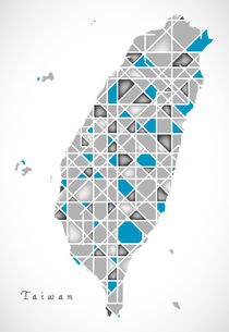 Taiwan Map crystal style artwork by Ingo Menhard