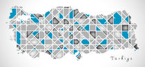 Turkey Map crystal style artwork by Ingo Menhard