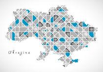 Ukraine Map crystal style artwork by Ingo Menhard