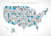 USA Map crystal style artwork by Ingo Menhard