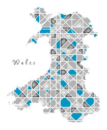 Wales Map crystal style artwork by Ingo Menhard