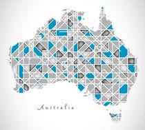 Australia Map crystal style artwork by Ingo Menhard