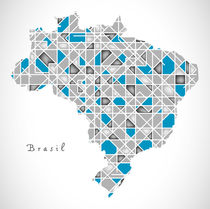 Brazil Map crystal style artwork by Ingo Menhard