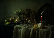 Still life with metal dishes, fruits and fresh flowers by Jarek Blaminsky