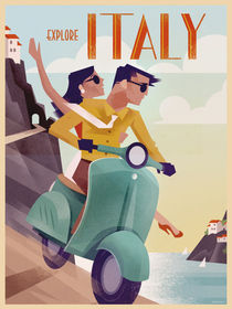 Retro Vintagel Travel Poster Italy von Benjamin Bay