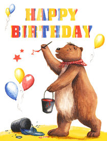 Birthday Bear 1 von Maria Bogade