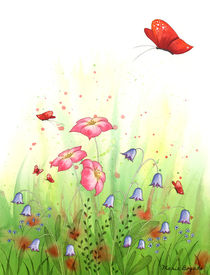 Flowers and Butterflies 1 by Maria Bogade