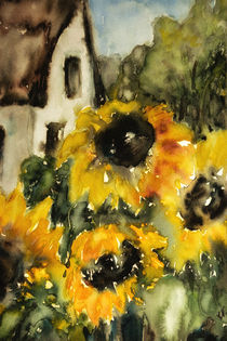 'Sunflower with house - Sonnenblume mit Haus' by Chris Berger