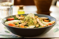 Fresh Salad With Mozzarella, Chicken, Tomatoes, Almonds And Onion Germs by Radu Bercan