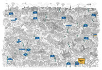 Illustrated map of Berlin-Mitte. Black&White by cartoon-city
