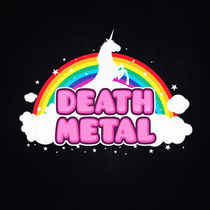 DEATH METAL! (Funny Unicorn / Rainbow Mosh Parody Design) by badbugsart