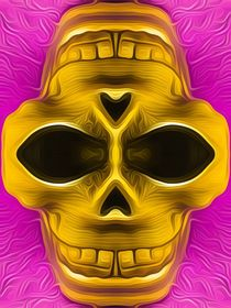 drawing and painting golden skull with pink background by timla