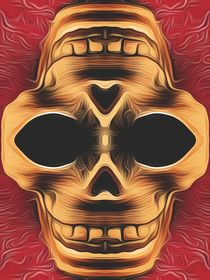 drawing and painting brown skull with red background by timla