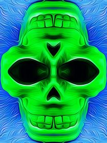 drawing and painting green skull with blue background by timla