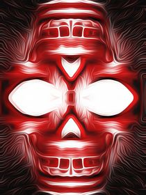 drawing and painting red skull with black background von timla