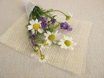 Ein kleiner Blumenstrauß mit Kamille und Lavendel von Heike Rau
