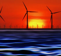 Wind Farms in the Sunset (Digital Art) von John Wain