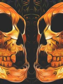 twin orange skull with black background by timla