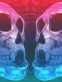 drawing and painting pink and blue skull background by timla