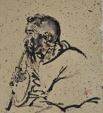 Smoking Man, sumi-e by Marianne Marx-Bleil