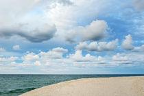 cloudy sky and blue sea, port of Ostuni, Apulia, Italy by tanialerro