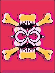 white and yellow funny skull face with mustache and glasses and pink background von timla