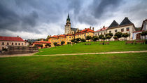 Main square and castle in Kremnica by Zoltan Duray
