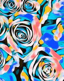 blue pink white and yellow roses texture background by timla