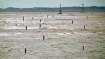 Gormley Statues on the beach (Digital Art) by John Wain