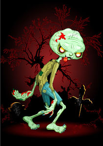 Zombie Creepy Monster Cartoon on Cemetery by bluedarkart-lem