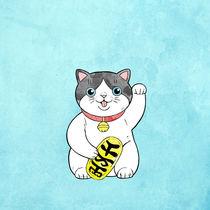 Manekineko, cat on a blue background by ft