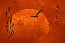 Schilfgras mit asiatischen Schriftzeichen für Jahreszeiten  by Monika Juengling
