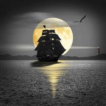 Ein Schiff mit schwarzen Segeln von Monika Juengling