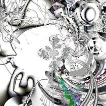 Digital Illustration of a kaleidoscopic Cyborg by 3quarksmedia