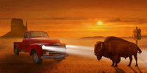 Meeting in the sunset on Route 66 von Monika Juengling