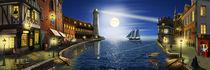 Der Nostalgie-Hafen in der Nacht by Monika Juengling