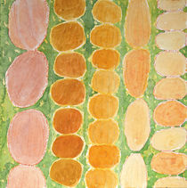 Rows of Round and Reddish Food on Green  by Heidi  Capitaine