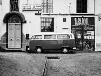 Old WV bus in Morocco horisontal Blac'nWhite by Philip Elberling