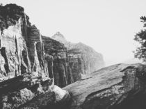 mountain view at Zion national park in black and white by timla