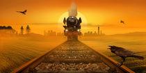 Dampflokomotive im Abendlicht von Monika Juengling
