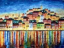 'Bunter Hafen bei Nacht Malerei' von siegfried2838