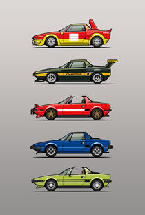 Stack of Fiat X1/9 Sports Cars von monkeycrisisonmars