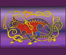 Celtic Cat 15 on Purple by ingridthecrafty