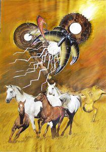 VU 18 Galoppierende Pferdeherde 2 by Heinz Sterzenbach
