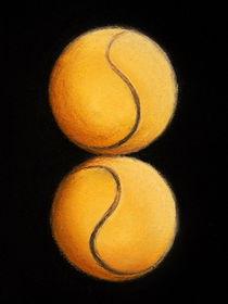 Tennisbälle - Tennisdoppel - Kunst - Malerei by Edeltraut K.  Schlichting