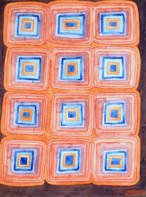 Twelve Red and Blue Melted Together Squares  by Heidi  Capitaine