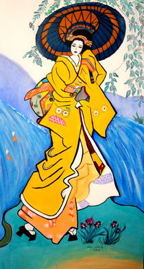 JAPANESE GIRL WITH UNBRELLA by Nora Shepley