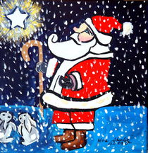 SANTA AND STAR, CHRISTMAS, COLORFUL, ABSTRACT, POP ART, NORTH POLE von Nora Shepley